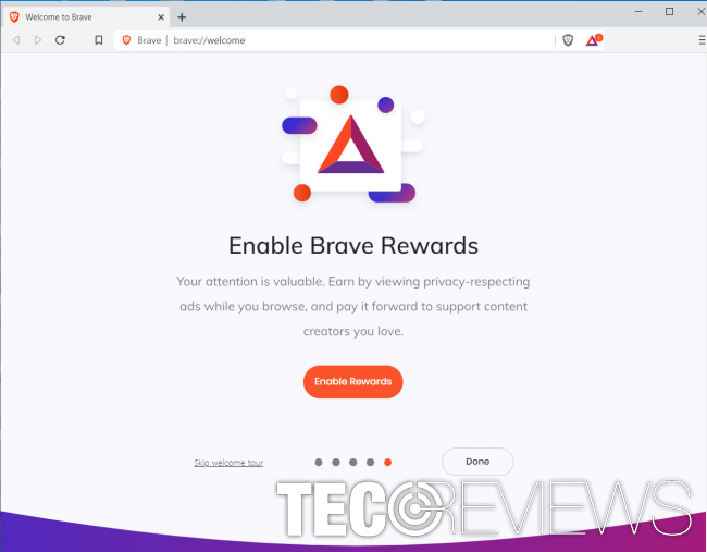 Brave Rewards intro. Screenshot taken on 30th of July, 2020